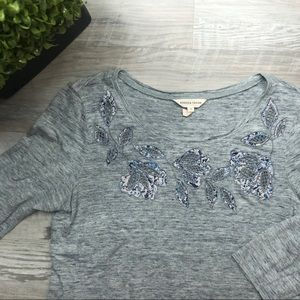 Rebecca Taylor Linen Grey Floral Short Sleeve Top